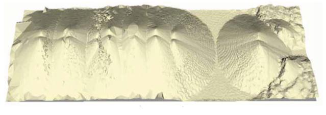 Sken skladovaného materiálu v plošnom sklade o veľkosti 150 x 45 m.